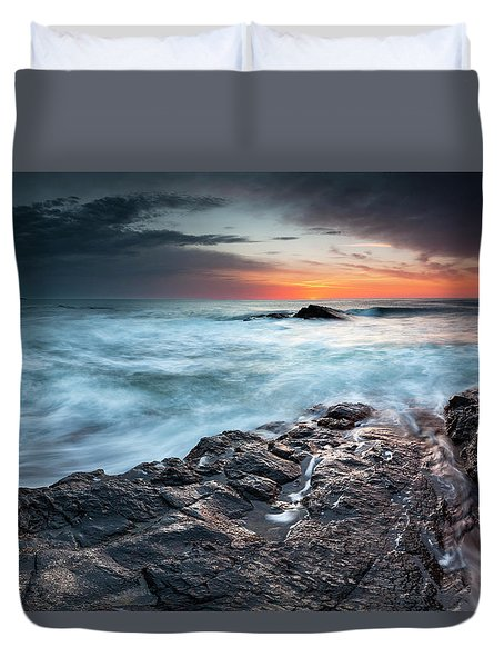 Black Sea Rocks Duvet Cover