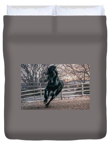Black Stallion Cantering Duvet Cover