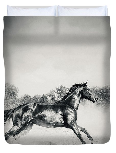 Duvet Cover featuring the photograph Black Stallion Horse by Dimitar Hristov