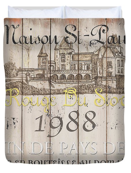 Blanc Wine Label 2 Duvet Cover