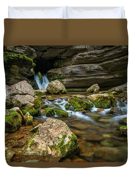 Duvet Cover featuring the photograph Blanchard Springs Headwater by Andy Crawford