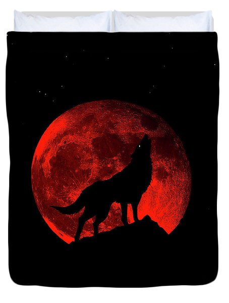 Blood Red Wolf Supermoon Eclipse 873l Duvet Cover