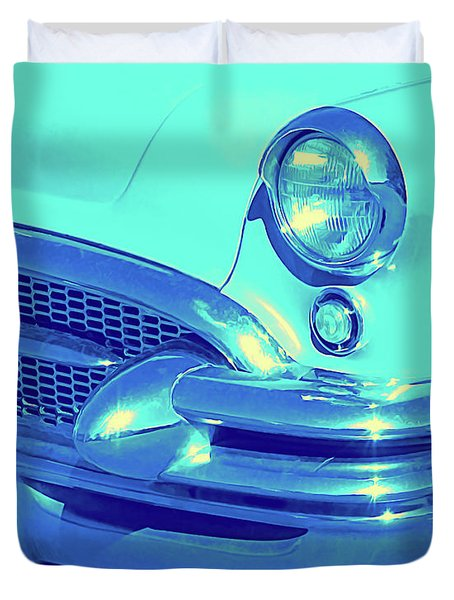 Blue 1955 Buick Special Duvet Cover