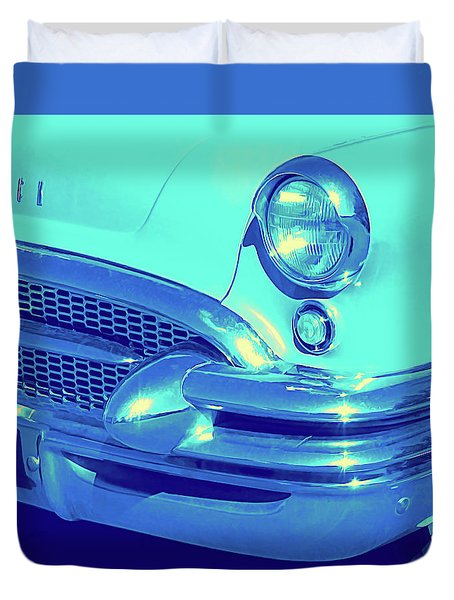 Duvet Cover featuring the photograph Blue 1955 Buick Special by David King