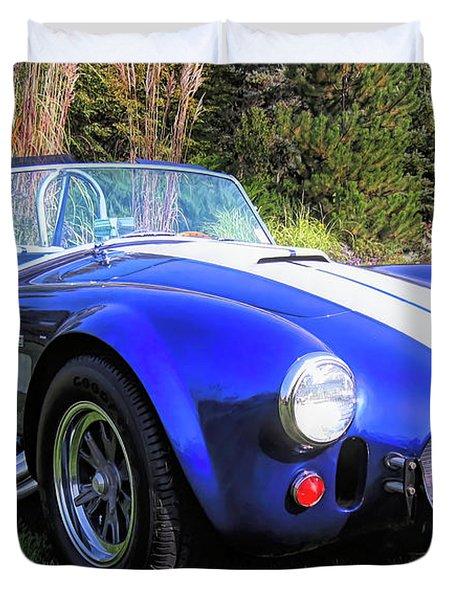 Blue 427 Shelby Cobra In The Garden Duvet Cover