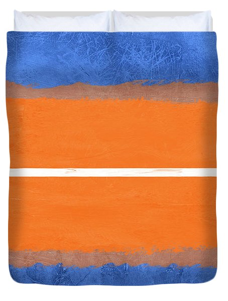 Blue And Orange Abstract Theme Iv Duvet Cover