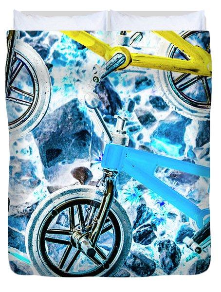 Blue Bike Background Duvet Cover