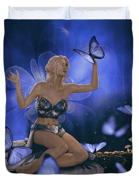 Blue Butterflies Fairy Duvet Cover