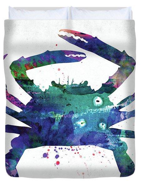 Blue Crab Watercolor Duvet Cover