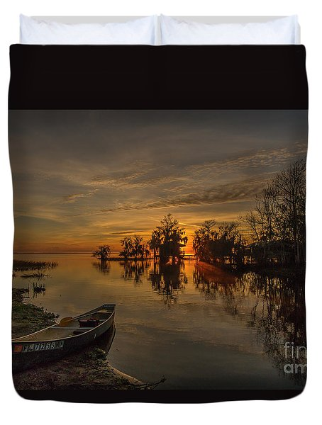 Duvet Cover featuring the photograph Blue Cypress Canoe by Tom Claud