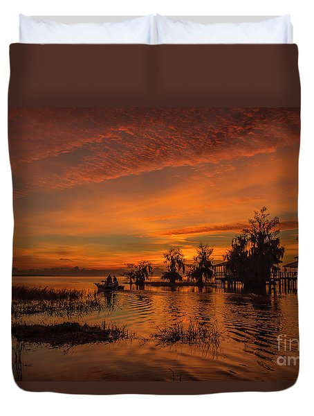 Duvet Cover featuring the photograph Blue Cypress Sunrise With Boat by Tom Claud