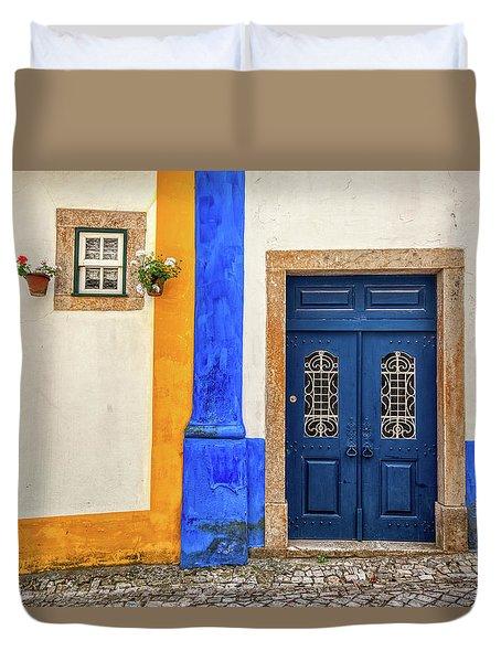 Blue Door Of Medieval Portugal Duvet Cover