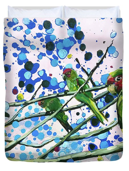 Duvet Cover featuring the painting Blue Dot Parakeets by Tilly Strauss