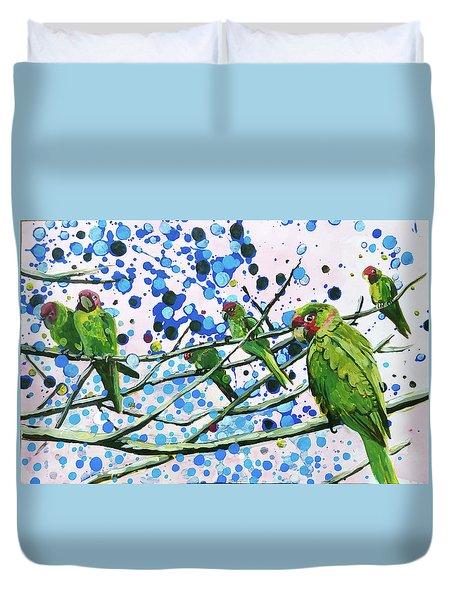 Blue Dot Parakeets Duvet Cover