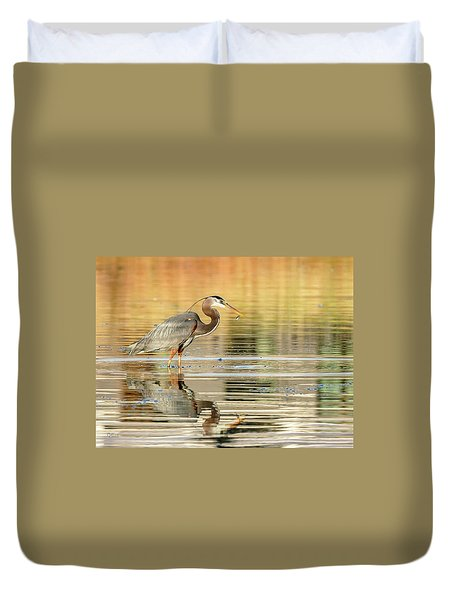 Blue Heron Fishing Duvet Cover