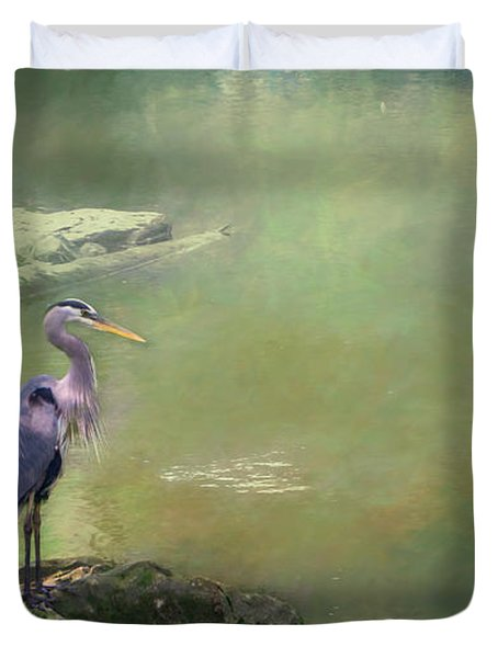 Blue Heron Isolated Duvet Cover
