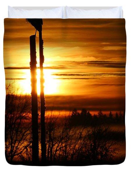 Blue Heron Sunrise 2 Duvet Cover