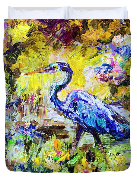 Blue Heron Wetland Magic Palette Knife Oil Painting Duvet Cover