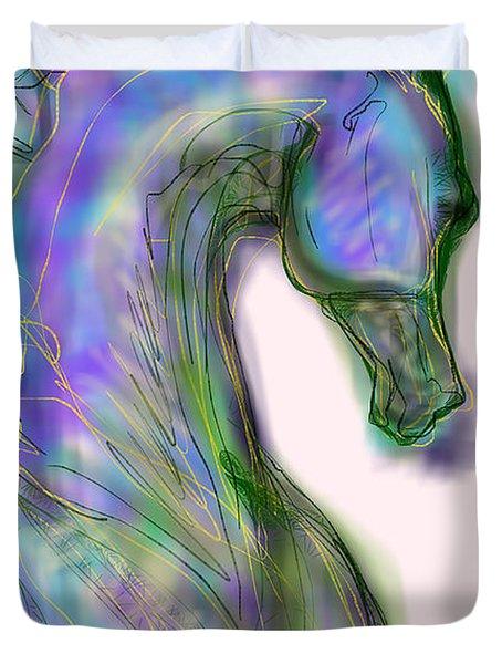 Blue Horse Painting Duvet Cover