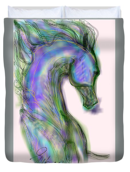 Blue Horse Painting Duvet Cover