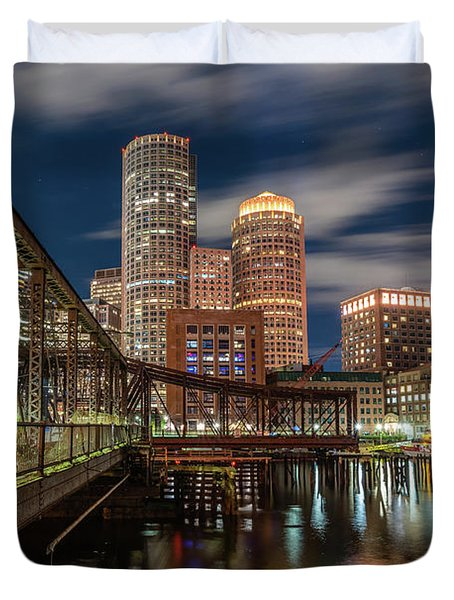 Blue Hour In Boston Harbor Duvet Cover