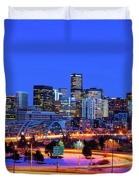 Blue Hour Over Denver Duvet Cover