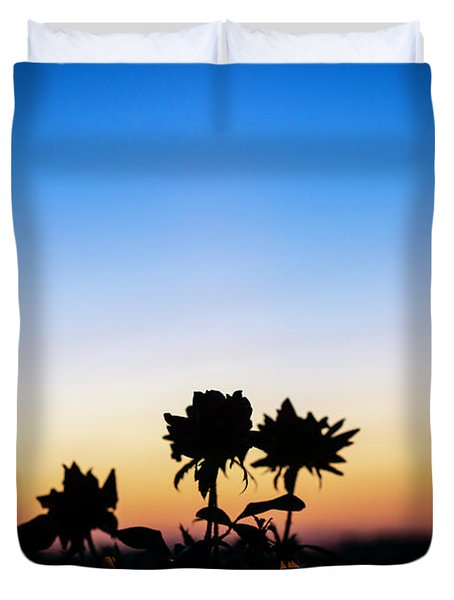 Blue Hour Sunset With Flowers Duvet Cover