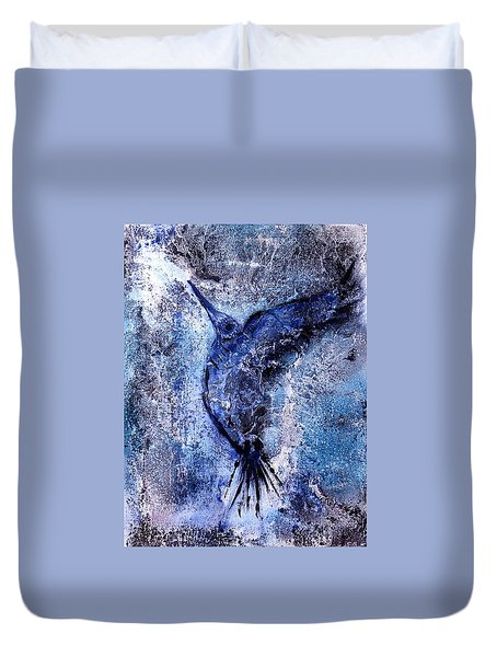 Duvet Cover featuring the painting Blue Hummingbird by 'REA' Gallery