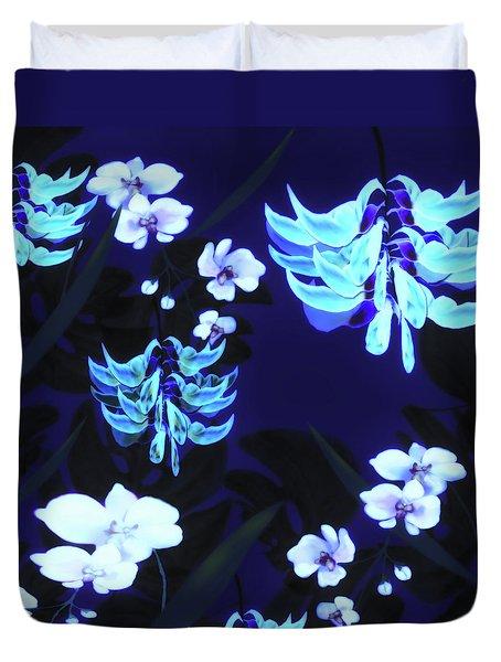 Blue Jungle Floral Duvet Cover