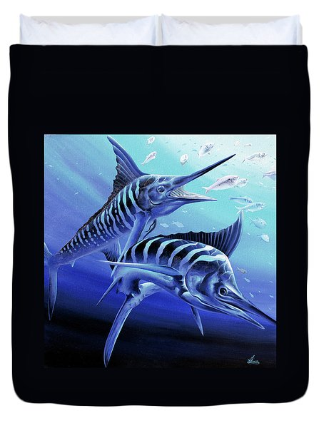 Duvet Cover featuring the painting Blue Marlins by William Love