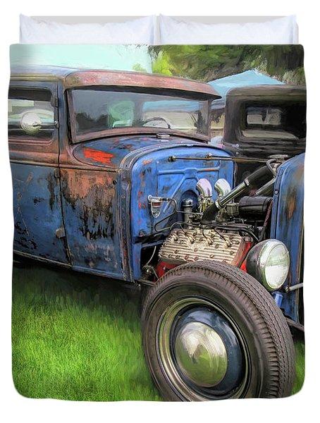 Blue Model A Ford Patina Rod Duvet Cover