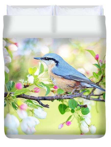 Blue Orange Bird Duvet Cover