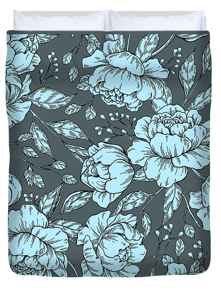 Blue Peonies Duvet Cover