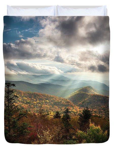 Blue Ridge Mountains Asheville Nc Scenic Autumn Landscape Photography Duvet Cover
