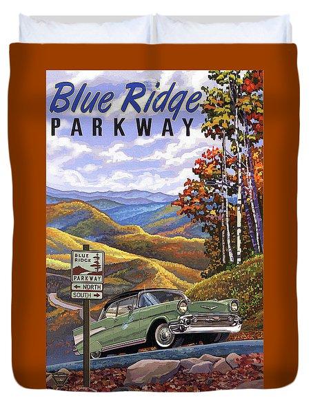 Chevrolet On Blue Ridge Parkway 1955 Duvet Cover