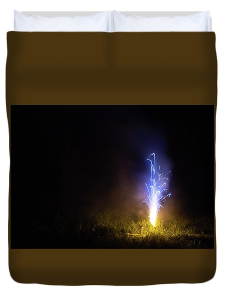 Duvet Cover featuring the photograph Blue Roman Candle by Scott Lyons