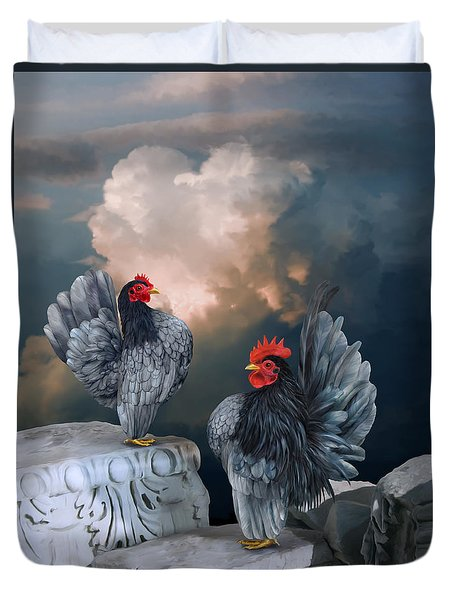 Blue Serama Pair Duvet Cover