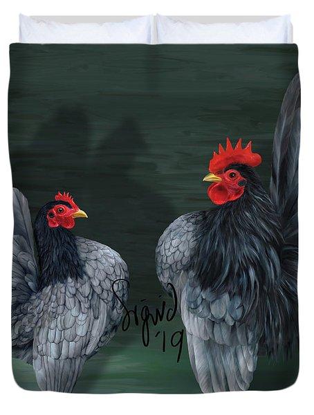 Blue Serama Pair Traditional Style Duvet Cover