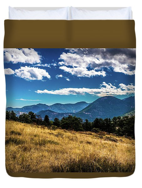 Duvet Cover featuring the photograph Blue Skies And Mountains by James L Bartlett