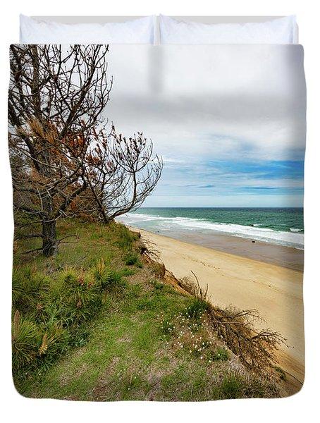 Blue Sky Nauset Beach Cape Cod Duvet Cover