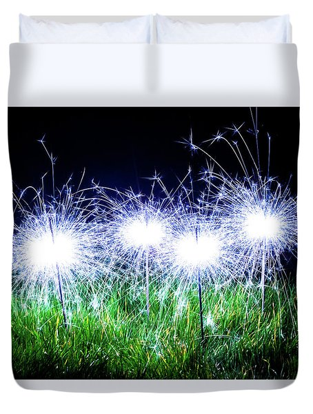 Duvet Cover featuring the photograph Blue Sparklers In The Grass by Scott Lyons