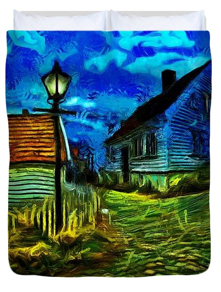 Duvet Cover featuring the painting Blue Town by Harry Warrick