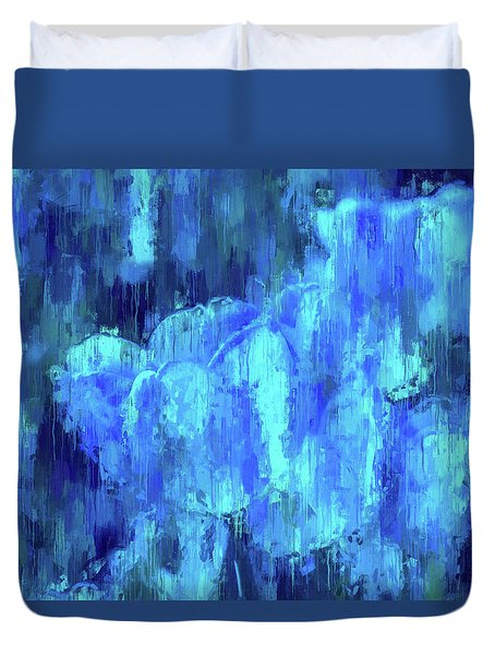 Blue Tulips On A Rainy Day Duvet Cover