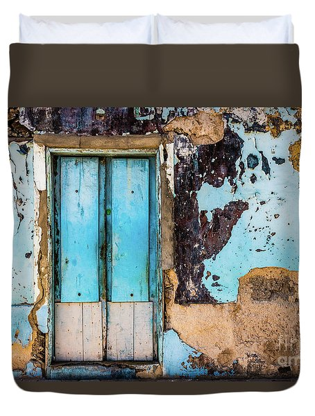 Blue Wall And Door Duvet Cover