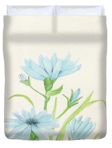 Blue Wildflowers Watercolor Duvet Cover