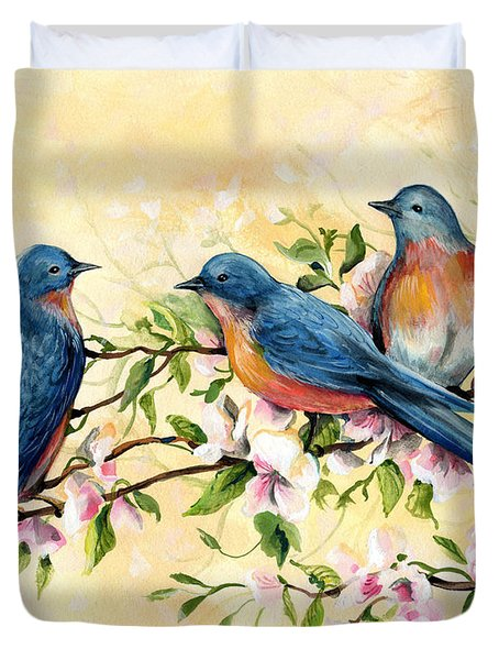Bluebird Blossoms Duvet Cover