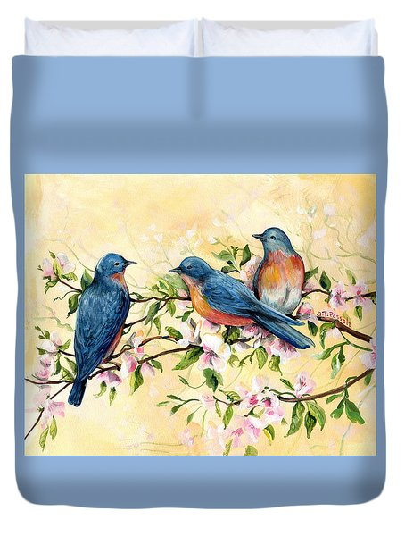 Bluebird Blossoms Duvet Cover
