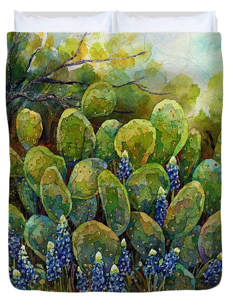 Duvet Cover featuring the painting Bluebonnets And Cactus 2 by Hailey E Herrera
