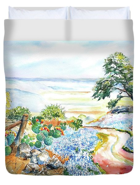 Bluebonnets - Texas Hill Country In Spring Duvet Cover