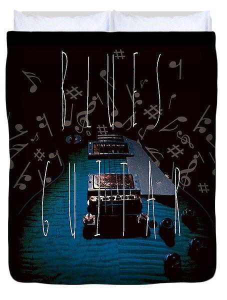 Blues Guitar Music Notes Duvet Cover